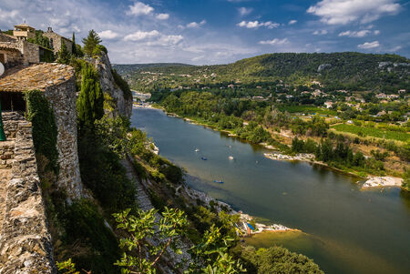 gorges: The medieval village of Aiguèze Alongside the canyon of the Ardeche river in France.
