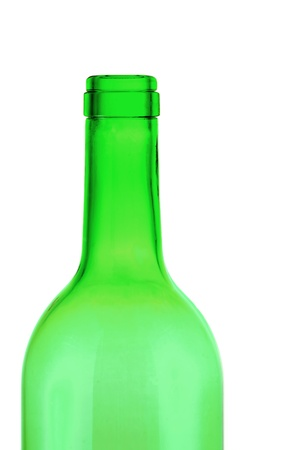 Green empty bottle on a white hum. photo