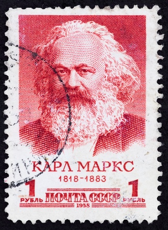 sociologist: USSR - CIRCA 1958: The postal stamp printed in the USSR which shows Karl Heinrich Marx, CIRCA 1958. Stock Photo