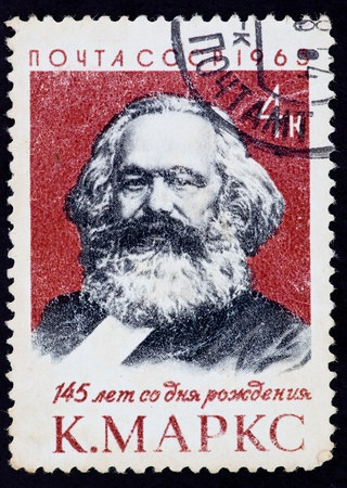 political economist: USSR - CIRCA 1963: The postal stamp printed in the USSR which shows Karl Heinrich Marx, CIRCA 1963.