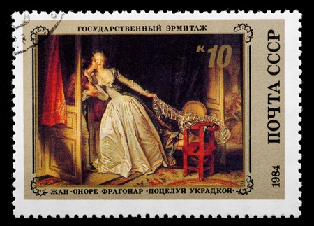 furtively: USSR - CIRCA 1984  The postal stamp printed in USSR is shown by the Jean-Onore Fragonard  The Kiss furtively , CIRCA 1984