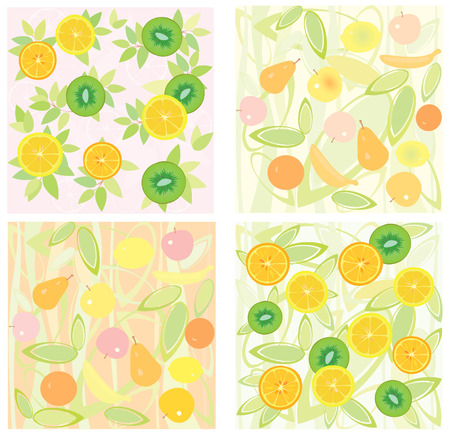 Four of fruit backgrounds, vector illustration. Vector