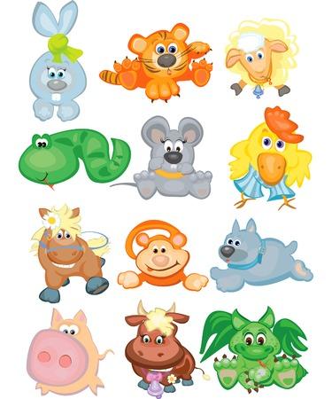 Cute animals, funny horoscope, vector illustration. Illustration