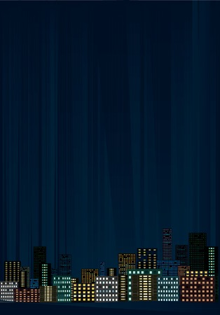 Night city, vector illustration. Vector