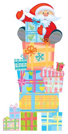 hollyday: Fun Santa on gifts, vector illustration. Illustration