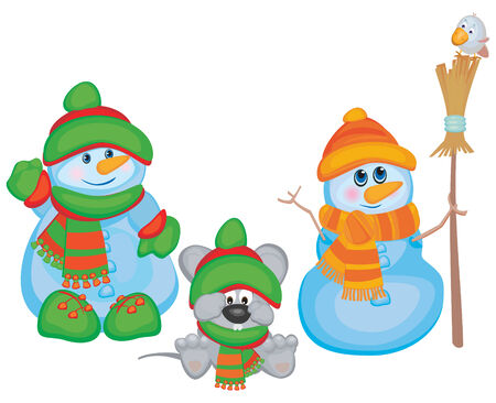 Funny snowmen and mouse, vector illustration. Vector