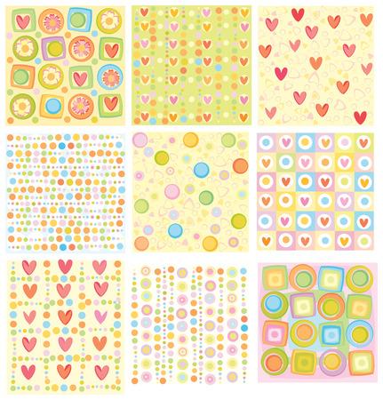 corazones: Nine of cute backgrounds.