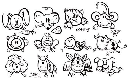 silueta mono: Animales, divertido hor�scopo. Vectores