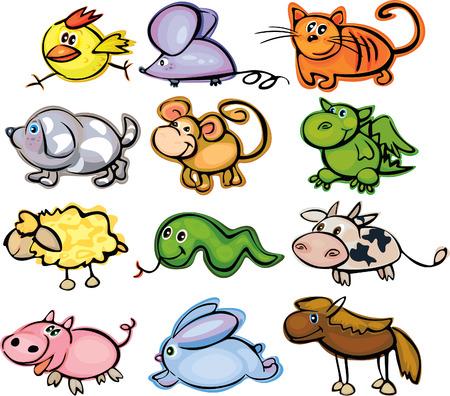 horoscopo libra: Animales, divertido hor�scopo. Vectores