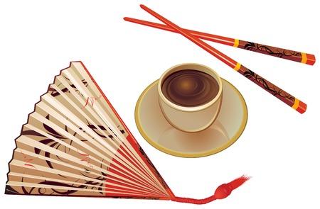 red fan: Chopsticks , fan and cup of tea.