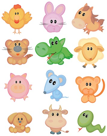 Cute animals, funny horoscope. Vector