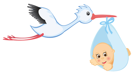 Stork and baby. Stock Vector - 4137999