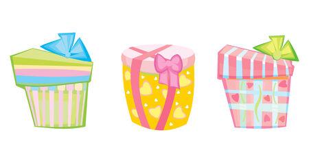 three gift boxes: Tres cajas de regalo.