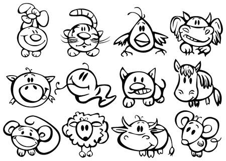 silueta mono: Animales, funny hor�scopo.