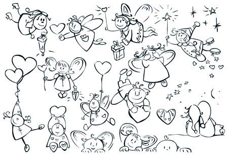 amor: Set mit niedlichen Engel f�r Design, Valentine's Day! Illustration