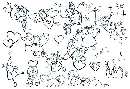 Set of cute angels for design, Valentines day! Vector