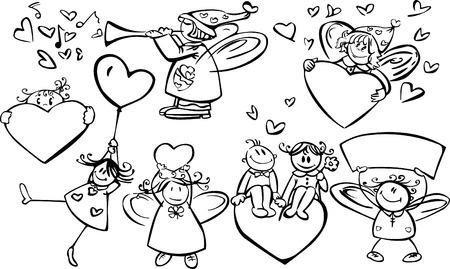 欲望: デザイン、バレンタインの日のかわいい天使のセット !  イラスト・ベクター素材