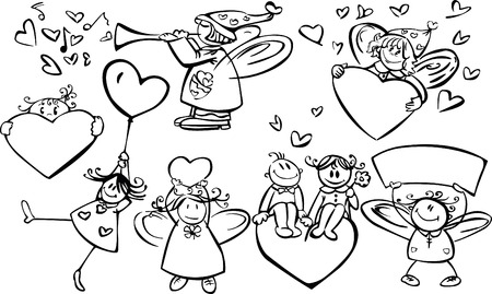 Set of cute angels for design, Valentines day! Illustration
