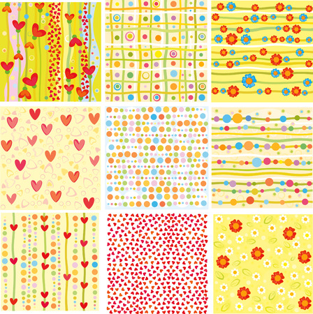 shape vector: Nine of cute backgrounds.
