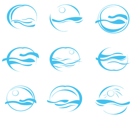 vector waves: Icons of sea.