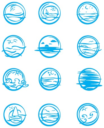 river vector: Icons of water. Illustration