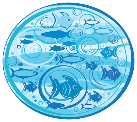Illustration of fishes. Vector