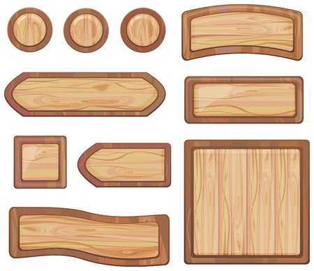 set of wooden sign, vector