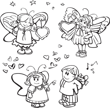 Set of cute angels for design Stock Vector - 4552403