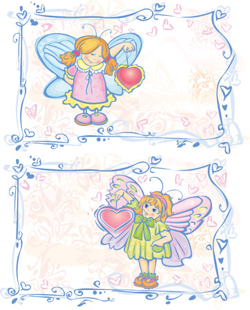 Two cards of pretty angels. Vector