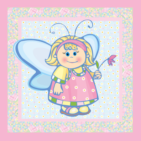 Card, small angel. Vector