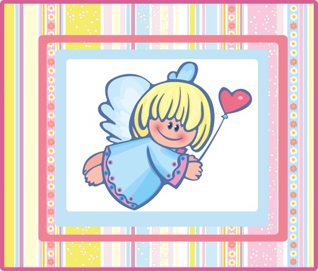 Card of pretty angel. Vector