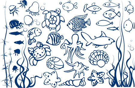 Set of fishes. Vector