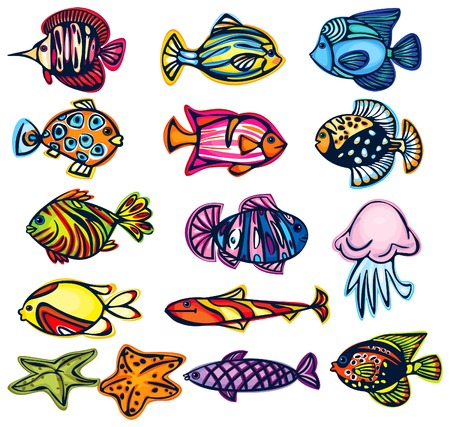 freshwater fish: Set of fishes.