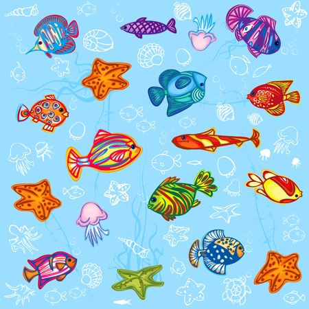 Fish background. Stock Vector - 4631905