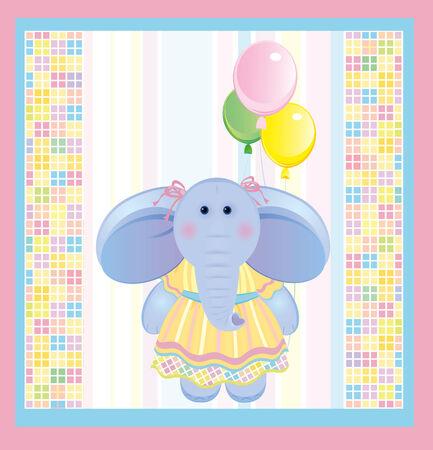 Card, funny elephant. Vector