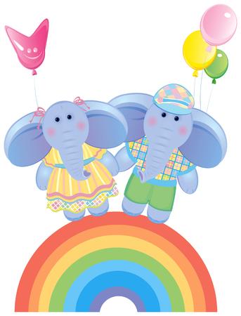 Funny elephants on rainbow. Vector