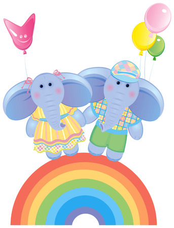 the darling: Funny elephants on rainbow.