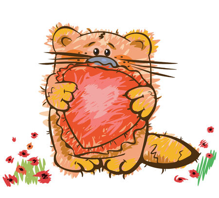 Cute kitten with heart Vector