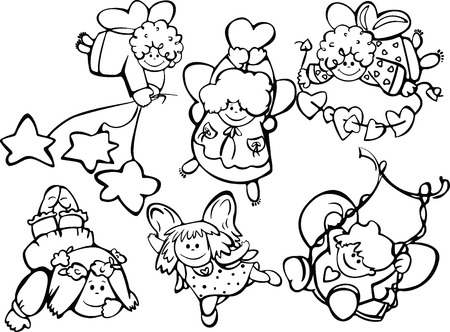 Set of cute angels for design Stock Vector - 5349796