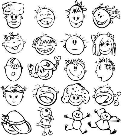 Silhouettes of kid faces. Vector Illustration