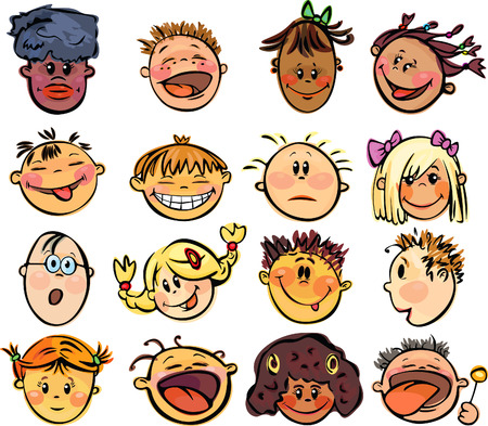 Kids faces. Vector