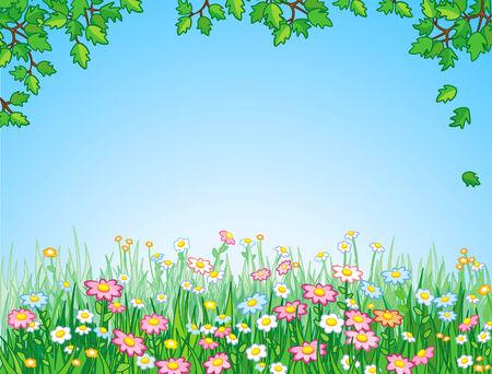 Green meadow, vector. Vector