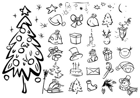 Set of silhouettes for xmas design Vector