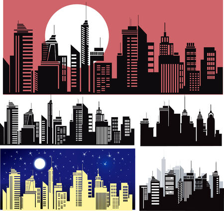 office window view:  City skyline  Illustration