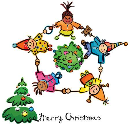 Happy dancing kids around tree! Vector