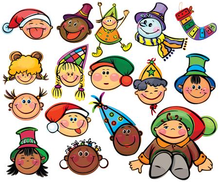 Happy kids  for xmas design Stock Vector - 5854753