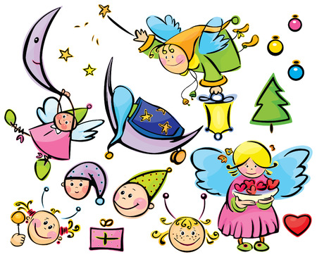 Set of cute angels and elements for xmas design Vector
