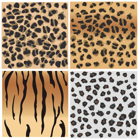 fabric swatch: Animal patterns of tiger and leopard. Illustration