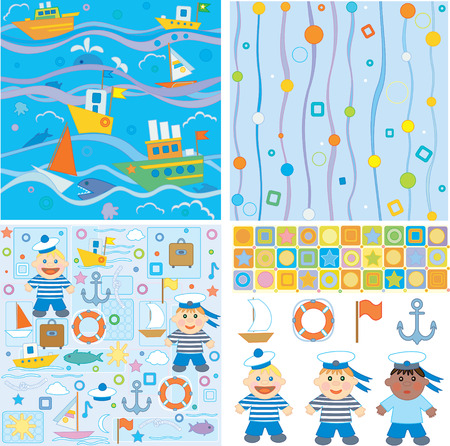 Backgrounds and design elements for baby boy scrapbook, small sailor Stock Vector - 6232804