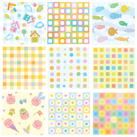 seamless, fun baby patterns for your design  Vector